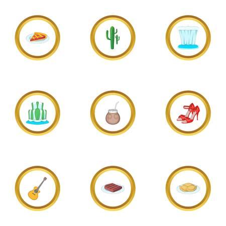 Ensemble d'icônes typiques de l'Argentine. Ensemble de style dessin animé de 9 icônes vectorielles typiques de l'Argentine pour la conception web Banque d'images - 86158550