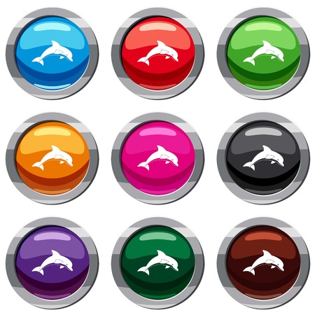 Jumping dolphin set icon isolated on white. 9 icon collection vector illustration