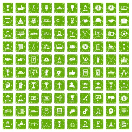 100 leadership icons set in grunge style green color isolated on white background vector illustration Illustration