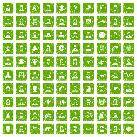 100 avatar icons set in grunge style green color isolated on white background vector illustration Ilustração