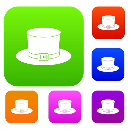 red clover: Leprechaun hat set icon color in flat style isolated on white. Collection sings vector illustration