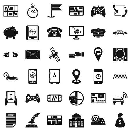 phone: Button icons set. Simple style of 36 button vector icons for web isolated on white background Illustration