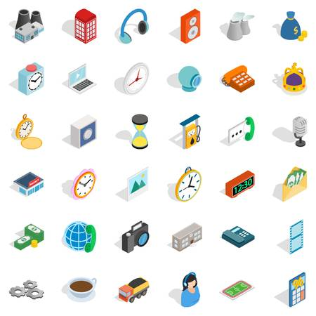 phone: Mobile icons set. Isometric style of 36 mobile vector icons for web isolated on white background