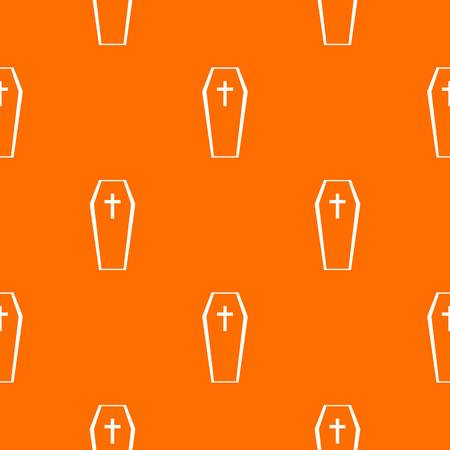 Coffin pattern repeat seamless in orange color for any design. Vector geometric illustration