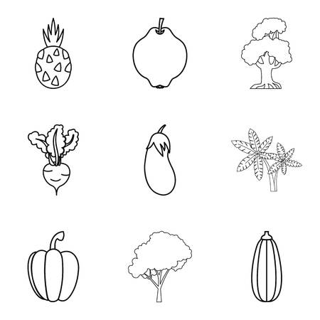 grooming: Market garden icons set. Outline set of 9 market garden vector icons for web isolated on white background