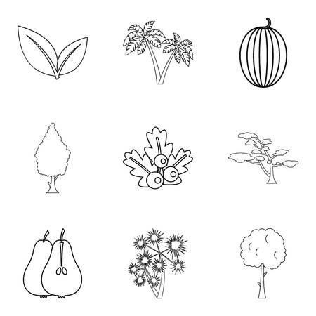 Plants and vegetables icons set. Illustration