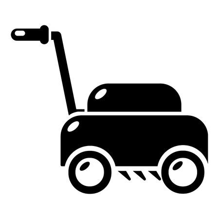 잔디 깎는 기계 아이콘. 잔디 깎는 기계의 간단한 그림 흰색 배경에 고립 된 웹 디자인을위한 벡터 아이콘 일러스트