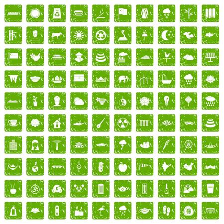 100 lotus icons set in grunge style green color isolated on white background vector illustration