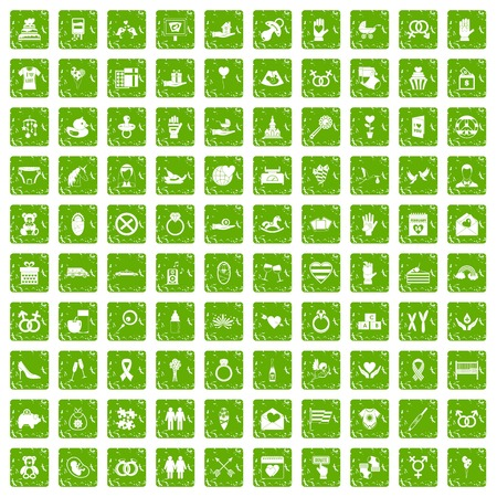100 love icons set in grunge style green color isolated on white background vector illustration