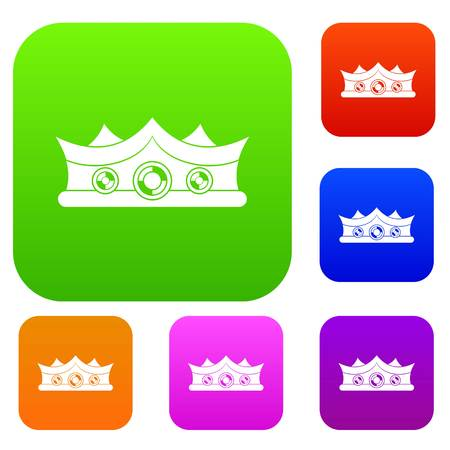 royals: King crown set icon color in flat style isolated on white. Collection sings vector illustration Illustration