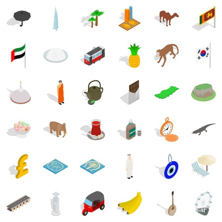 Monk icons set. Isometric style of 36 monk vector icons for web isolated on white background