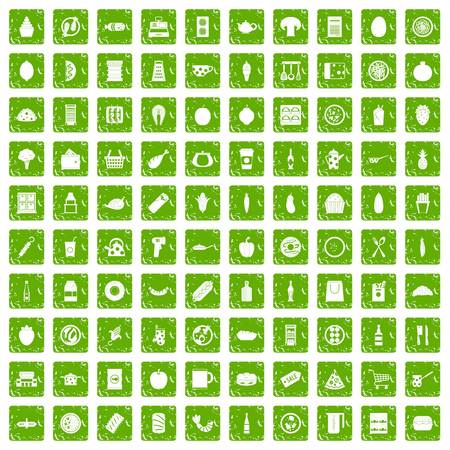 100 lunch icons set in grunge style green color isolated on white background vector illustration