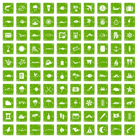 100 marine environment icons set in grunge style green color