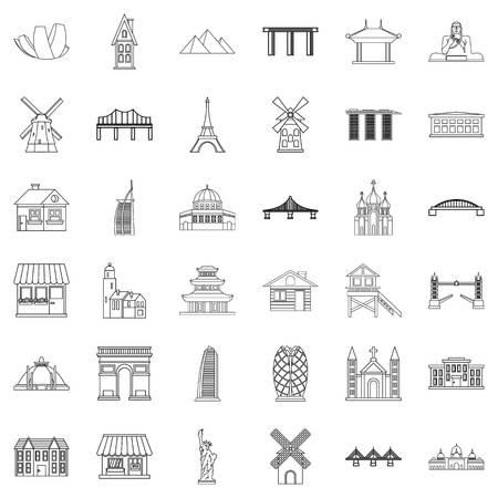 Paris Icons Set . Umriss-Stil von 36 Pariser Vektor-Icons für das Web isoliert auf weißem Hintergrund Standard-Bild - 86229345