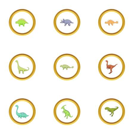 triceratops: Different dinosaurs icons set, cartoon style Illustration