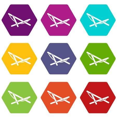 beatitude: Beach chaise icon set color hexahedron