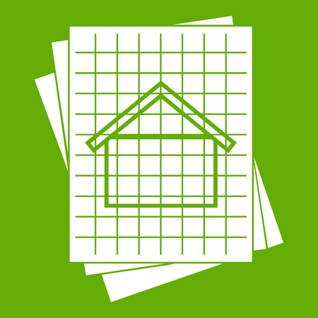House blueprint icon white isolated on green background. Vector illustration