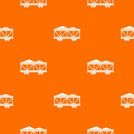 heavy industry: Train cargo wagon pattern repeat seamless in orange color for any design. Vector geometric illustration