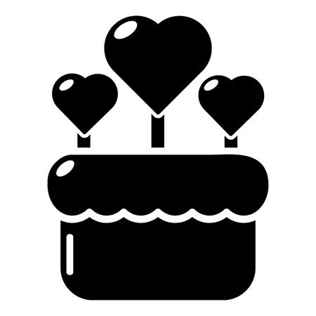 pareja comiendo: Wedding cake icon . Simple illustration of wedding cake vector icon for web design isolated on white background Vectores