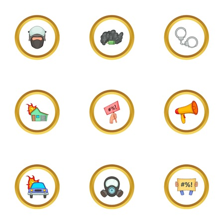 Police icons set. Cartoon style set of 9 police vector icons for web design Illustration