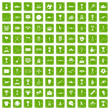 hockey goal: 100 medal icons set in grunge style green color isolated on white background vector illustration