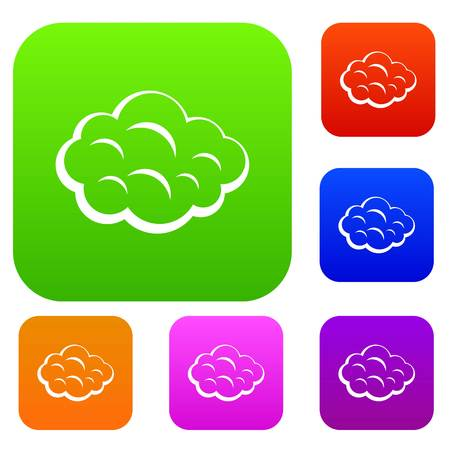 Summer cloud set icon color in flat style isolated on white. Collection sings vector illustration