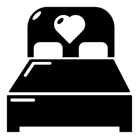 lying in bed: Wedding couple bed icon, simple style