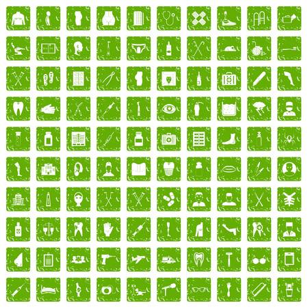 100 medical care icons set in grunge style green color isolated on white background vector illustration
