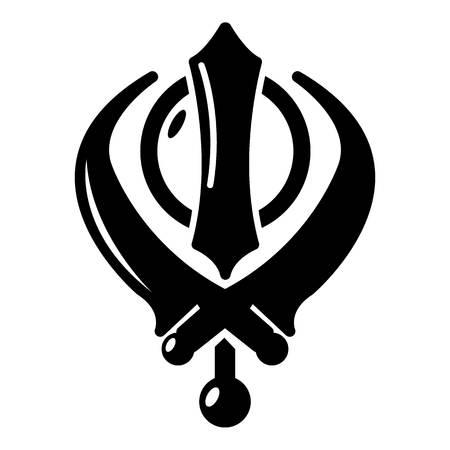 Khanda Symbol Sikhism Religion Icon Simple Style Royalty Free