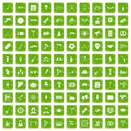 hockey goal: 100 meeting icons set grunge green Illustration