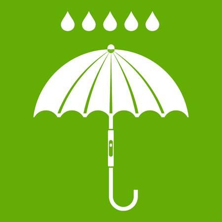 Paraplu en regen druppels pictogram wit geïsoleerd op groene achtergrond. Vector illustratie Stock Illustratie