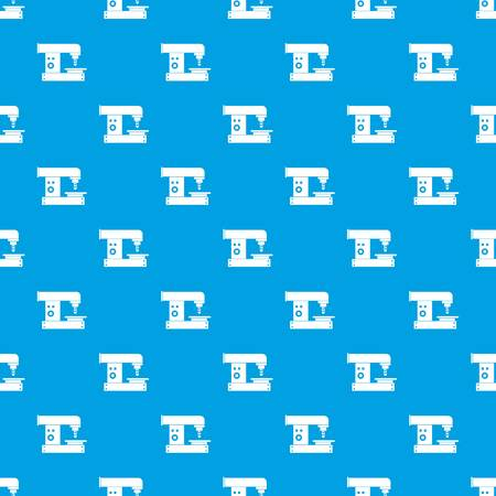 steel mill: Drilling machine pattern repeat seamless in blue color for any design. Vector geometric illustration