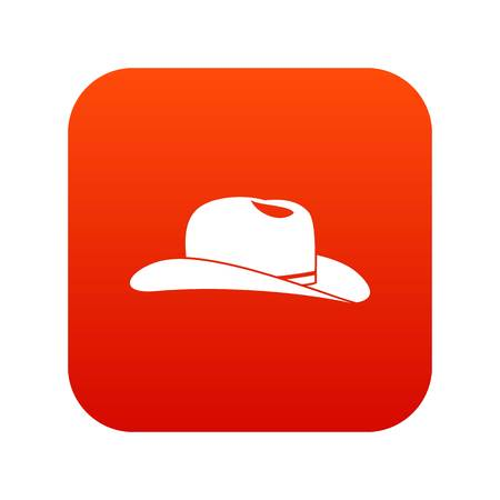 Cowboy hat icon digital red for any design isolated on white vector illustration Illustration