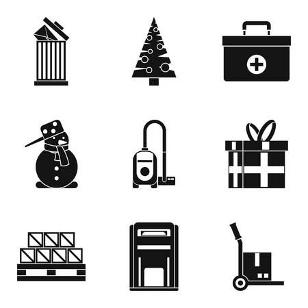 Gift boxed icons set. Simple set of 9 gift boxed vector icons for web isolated on white background Иллюстрация
