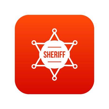 Sheriff badge icon digital red