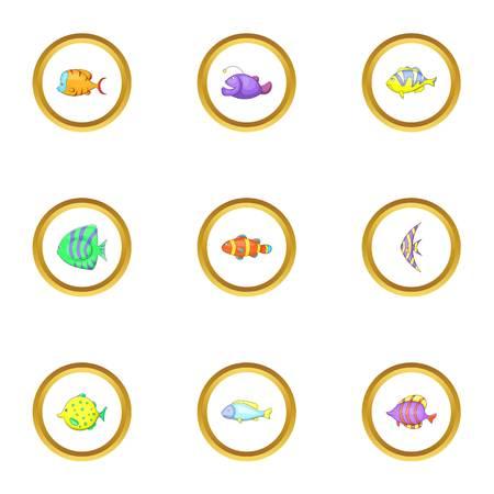 clown fish: Tropical fish icons set, cartoon style