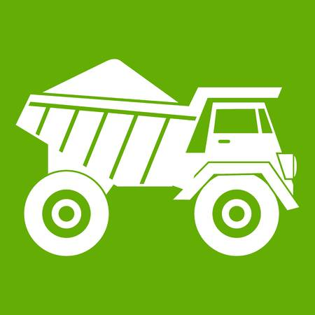 Dump truck with sand icon white isolated on green background. Vector illustration