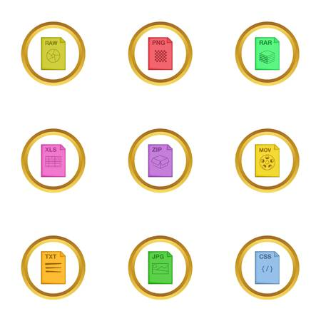css: File format icons set, cartoon style