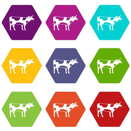 Switzerland cow icon set color hexahedron Illustration