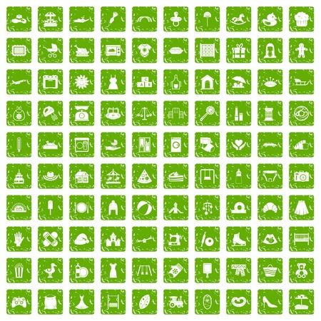 100 iconos de la maternidad establecen grunge verde
