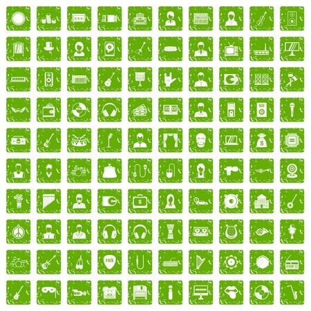operetta: 100 music icons set grunge green