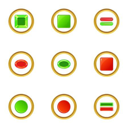 Red and green switch icons set, cartoon style