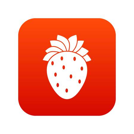 Strawberry icon digital red