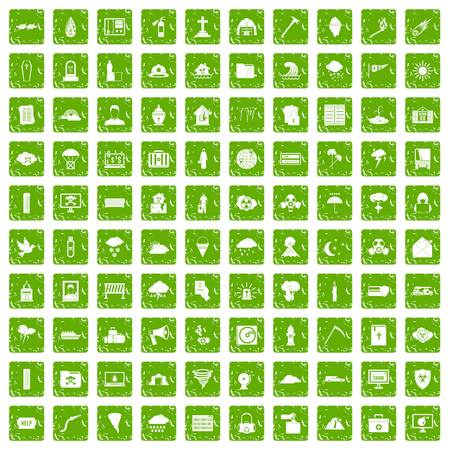 cross match: 100 natural disasters icons set in grunge style green color isolated on white background vector illustration