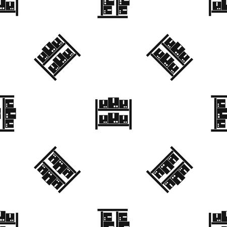Opslag van goederen in magazijnpatroon herhaal naadloos in zwarte kleur voor elk ontwerp. Vector geometrische illustratie