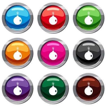 Cannonball set icon geïsoleerd op wit. 9 icon collectie vector illustratie