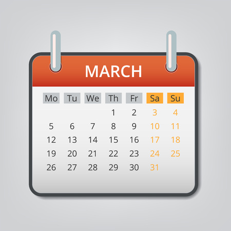 March 2018 calendar concept background. Cartoon illustration of march 2018 calendar vector concept background for web design