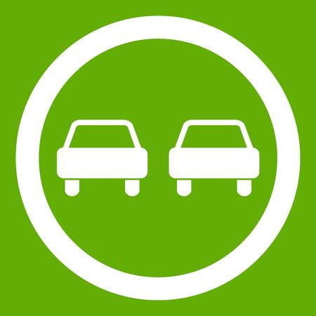 No overtaking road traffic sign icon white isolated on green background. Vector illustration