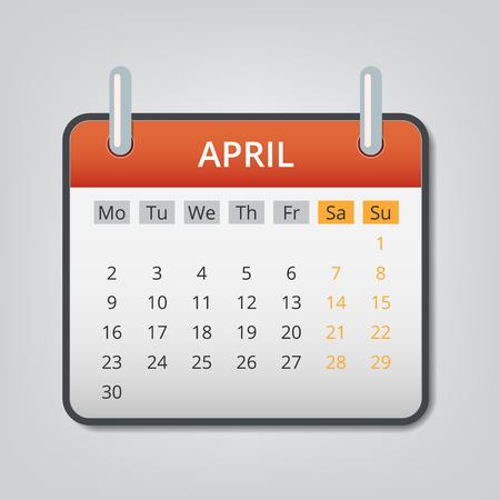 2018年 4 月カレンダーの概念の背景。漫画の 2018年 4 月のイラスト カレンダーの web デザインのためのベクトルの概念の背景  イラスト・ベクター素材