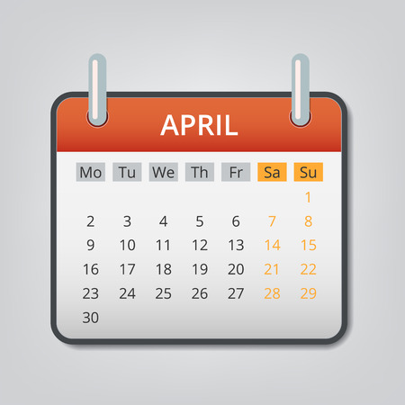 April 2018 calendar concept background. Cartoon illustration of april 2018 calendar vector concept background for web design